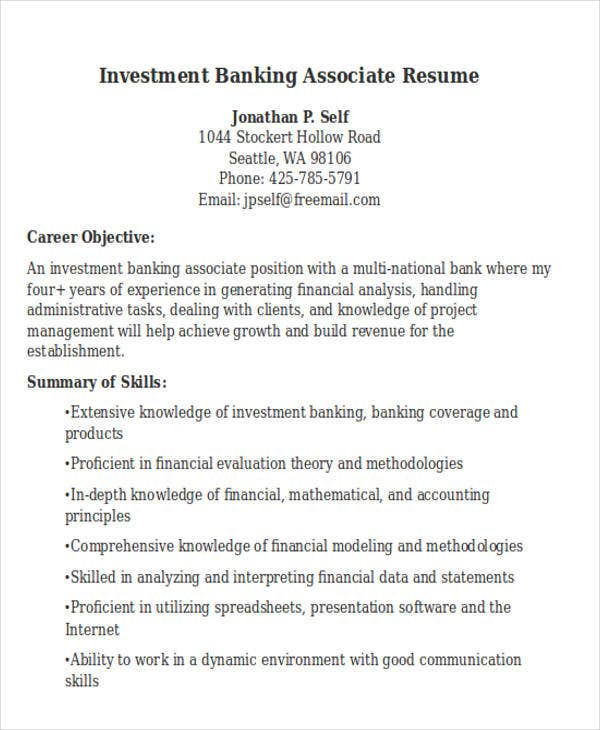 Investment Banking Resume Templates. Investment Banking Associate  Bank Resume Template