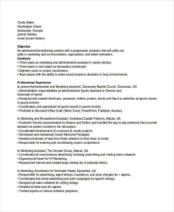 marketing resume templates in word 25 free word documents - Virtual Assistant Resume Sample