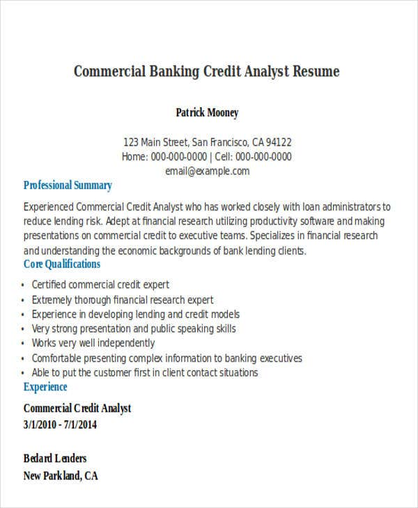 commercial banking credit analyst. Resume Example. Resume CV Cover Letter