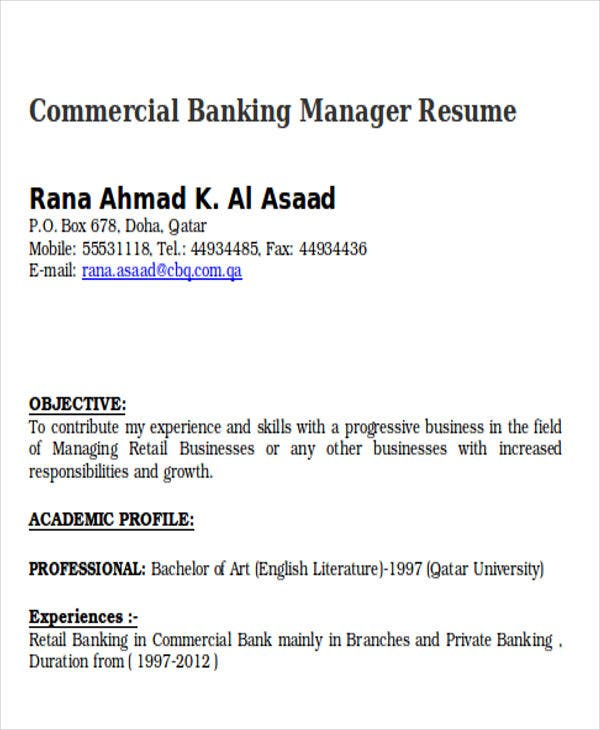 commercial banking manager resume