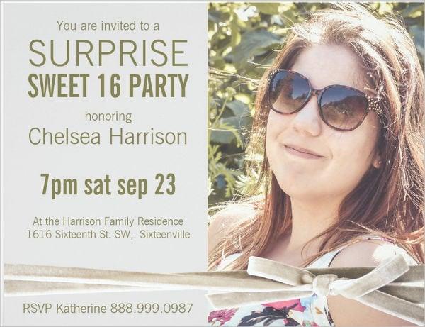 surprise sweet 16 ceremony invitation