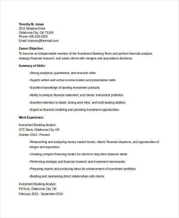 Investment Banking Analyst Resume  Investment Banking Analyst Resume