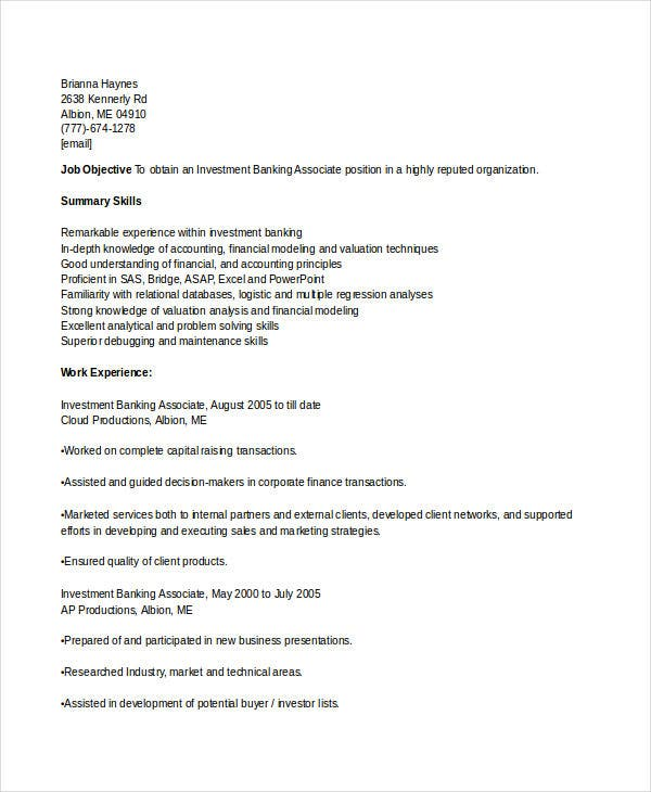investment banking associate resume2