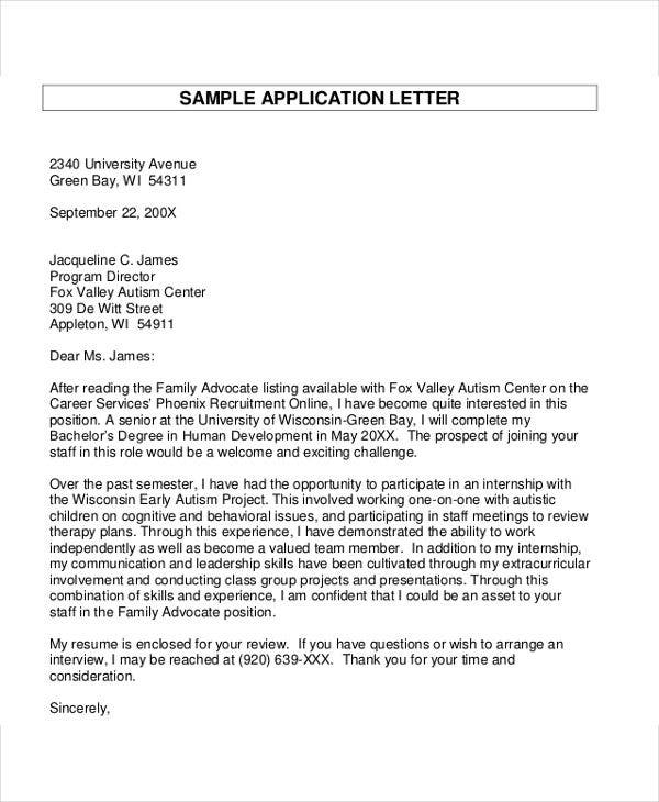 41+ Application Letter Templates Format - DOC, PDF | Free & Premium ...
