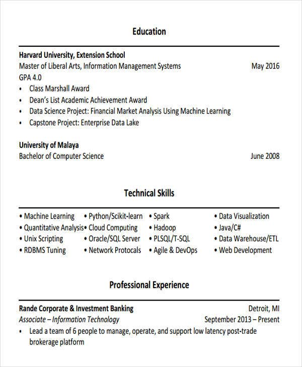 banking professional resume example