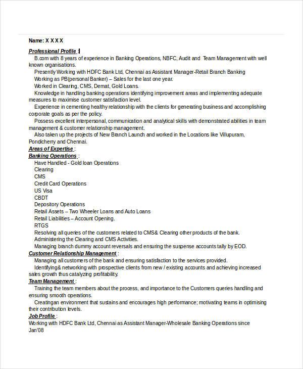 30  basic banking resume templates