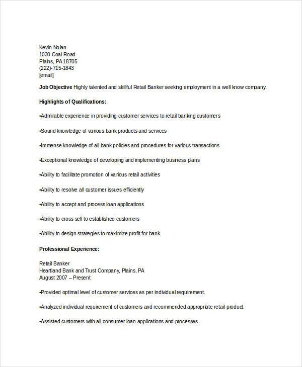 retail banking officer resume1