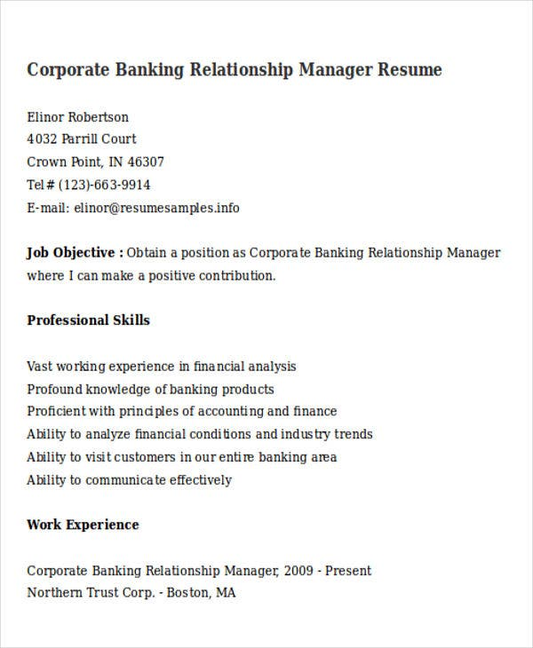 21 banking resume templates pdf doc free premium templates corporate banking resume template corporate banking relationship manager yelopaper Choice Image