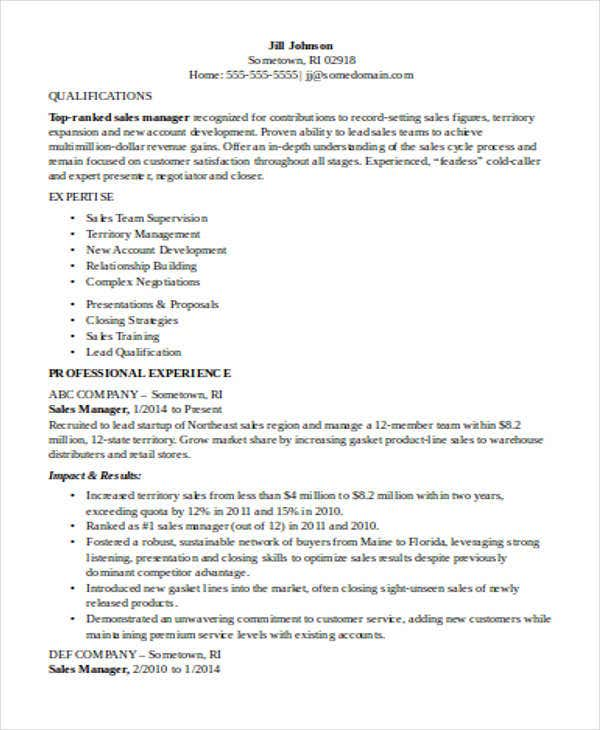 Inside Sales Manager Resume  Inside Sales Resume