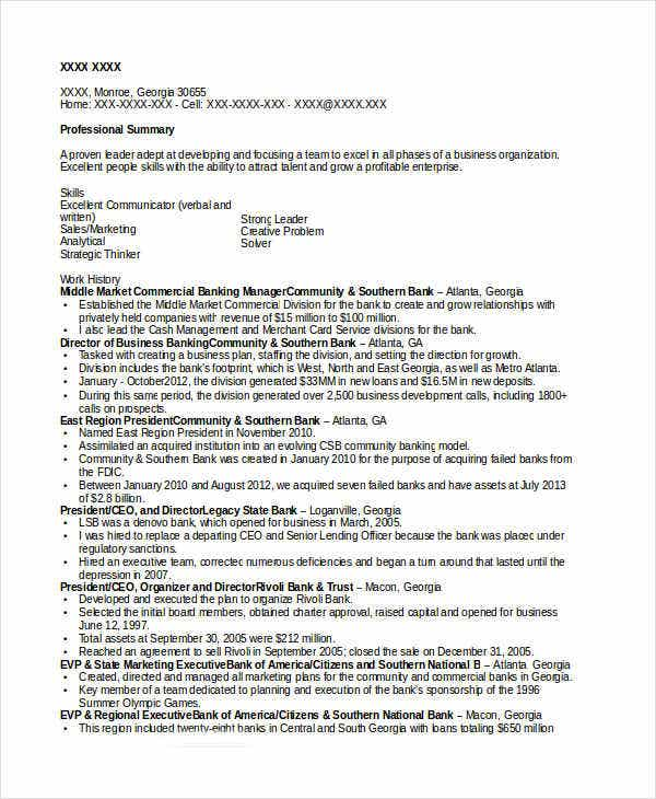 Commercial Banking Officer Example Investment Banking Resume