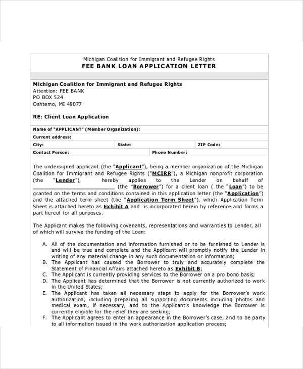 bank loan application letter format