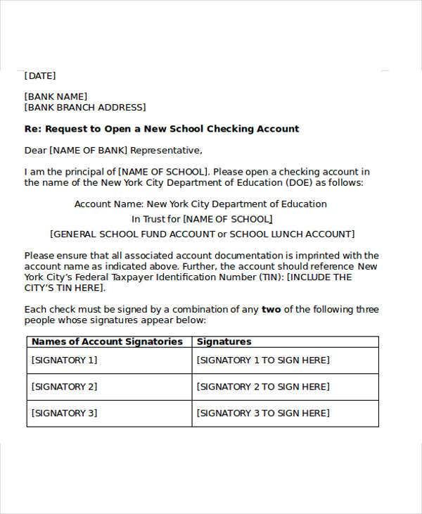 bank account application letter format