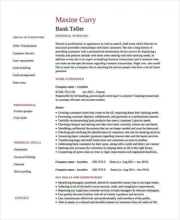 bank teller experience resume
