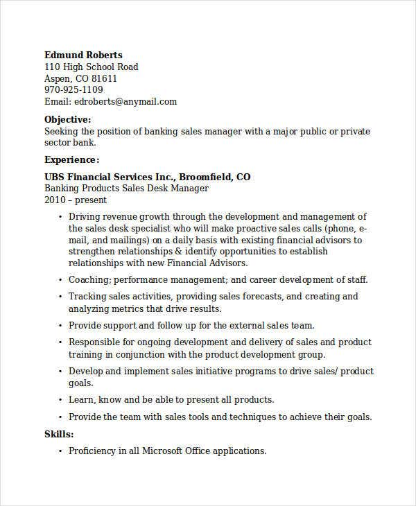 banking sales manager. Resume Example. Resume CV Cover Letter