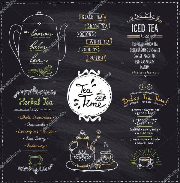 17 blank party menu free premium templates for Tea party menu template