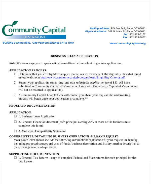 business loan application letter format