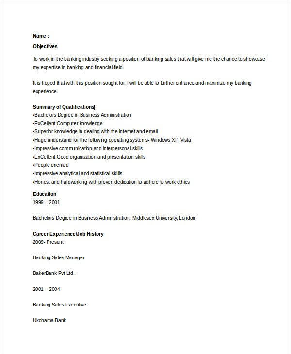 Banking-Sales-Experience-Resume3 Targeted Resume Sample Doc on examples office administration, template district manager, template microsoft works, template gov, for medical trainer example, advantages disadvantages, samples for college student, professional examples,