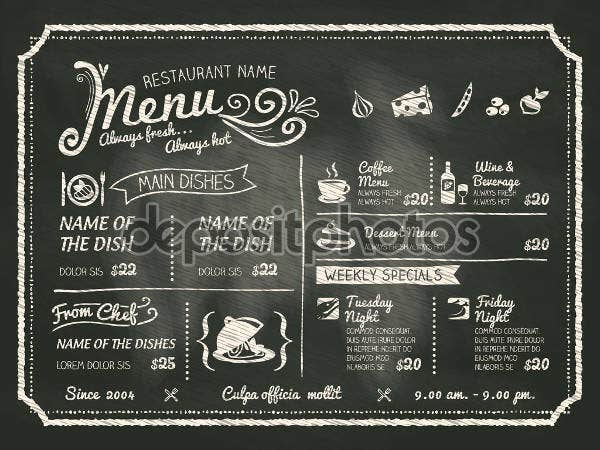 printable chalkboard party menu1