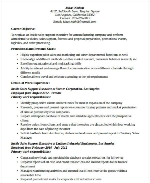 inside sales support resume - Inside Sales Resume