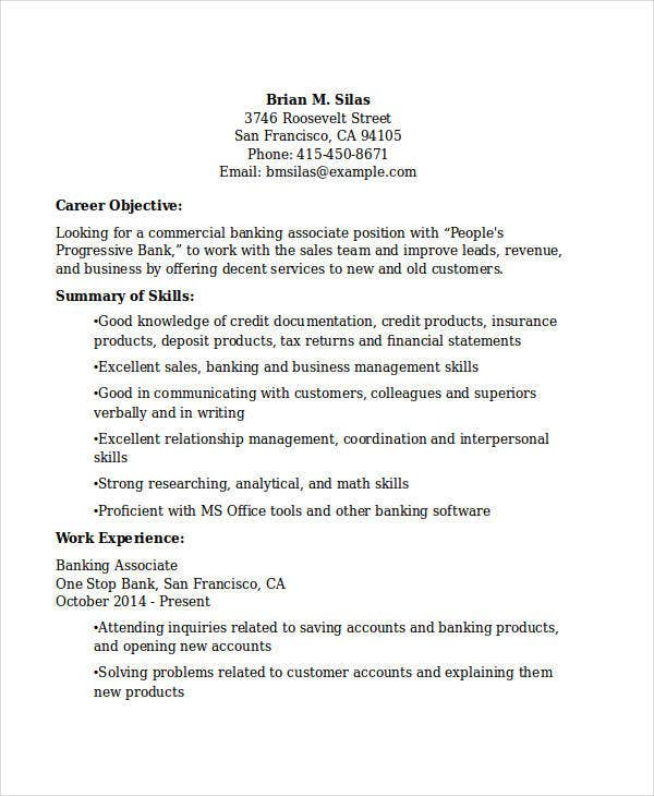 commercial banking associate resume