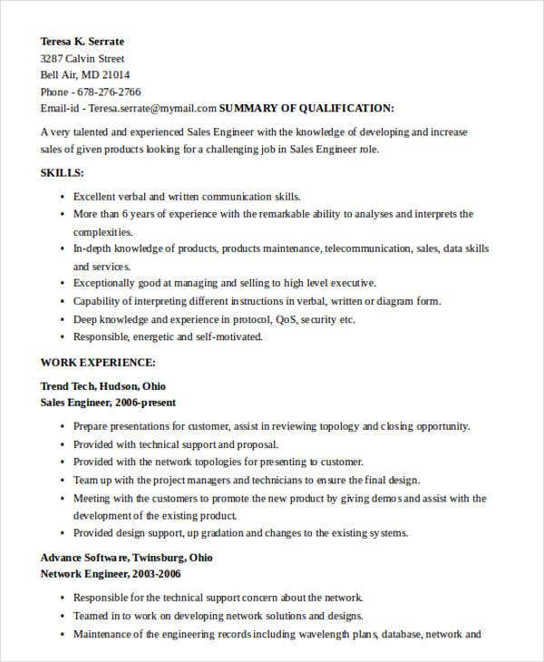 security sales engineer resume