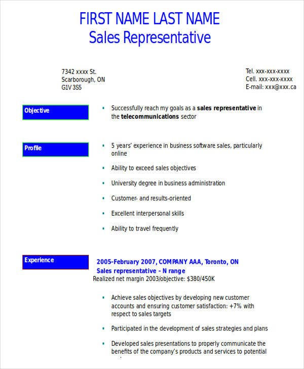 service sales representative resume
