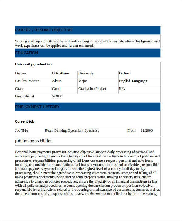 30 Basic Banking Resume Templates Pdf Doc Free