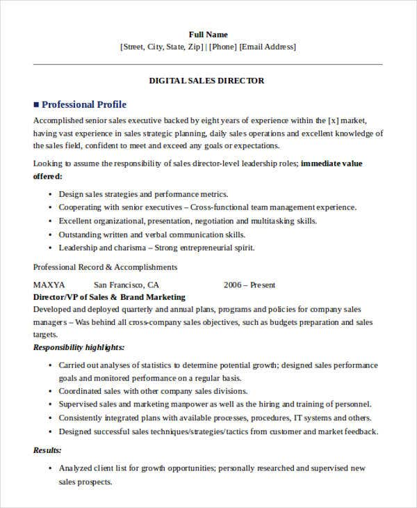 digital sales director resume