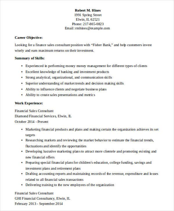 financial sales consultant resume2
