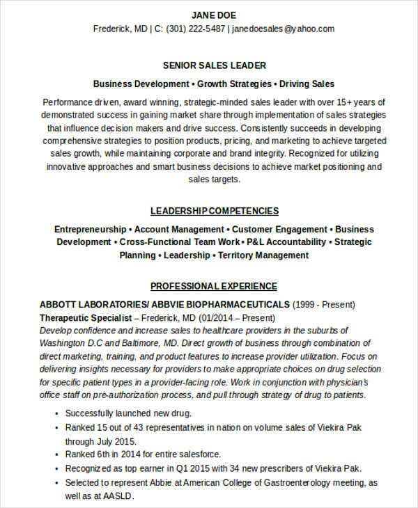 healthcare sales manager resume1