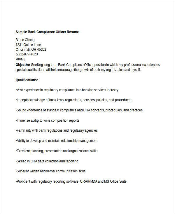 banking compliance officer - Regulatory Compliance Officer Sample Resume