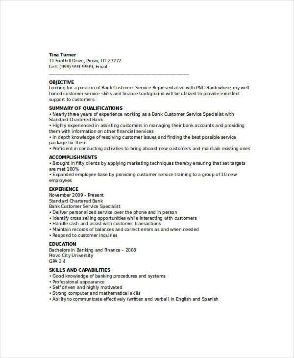 banking customer service officer resume1