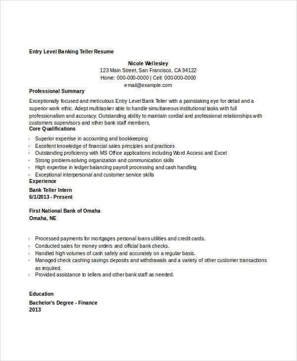 sample entry level bank teller resume with no experience