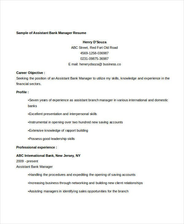banking assistant manager resume1