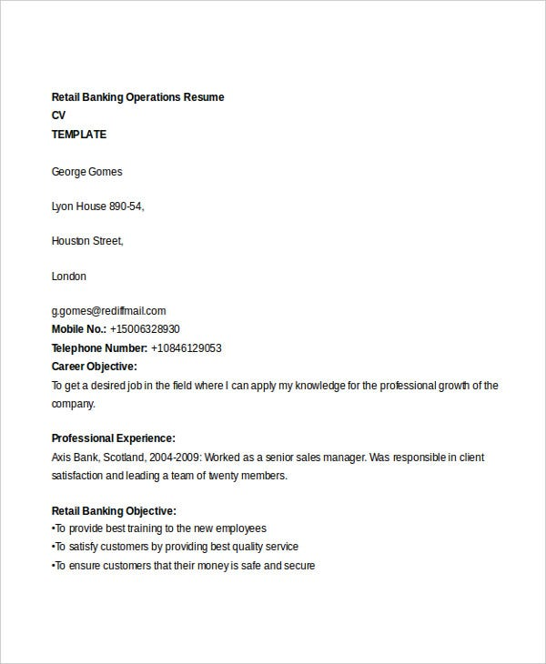 retail banking operations resume2