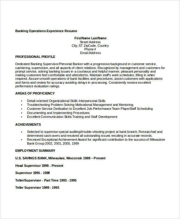 banking operations experience resume