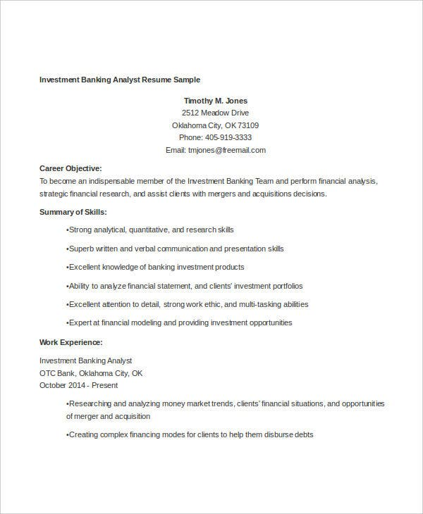 Investment Banking Analyst Resume