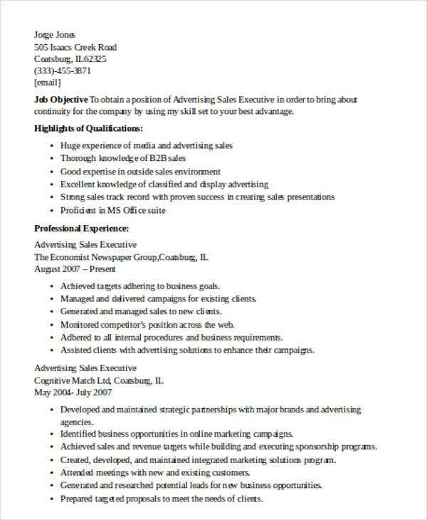Resume Profile Examples Executive Resume Template Free Sample Resume Cover  Advertising Account Executive Resume Samples