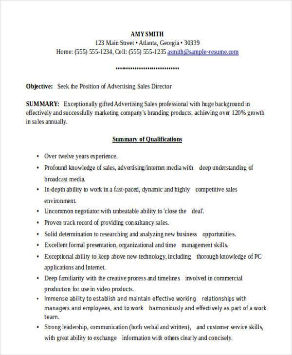 advertising sales director resume3