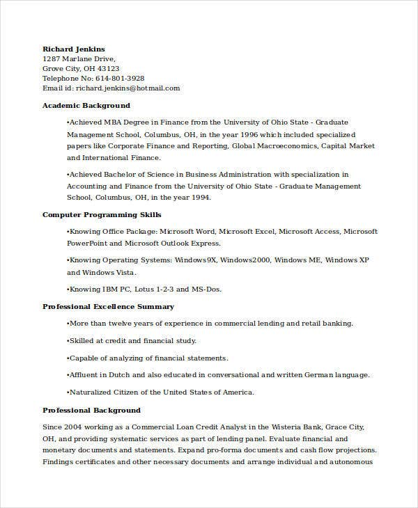 corporate banking credit analyst resume1