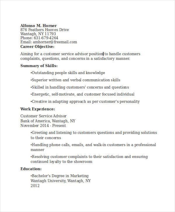 banking customer service adviser resume1