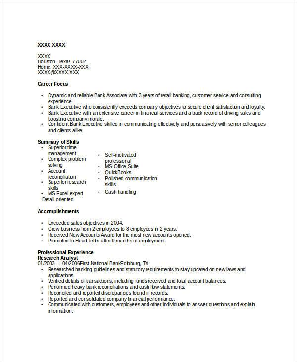 Basic Banking Resumes - 39+ Free Word, PDF Documents Download ...