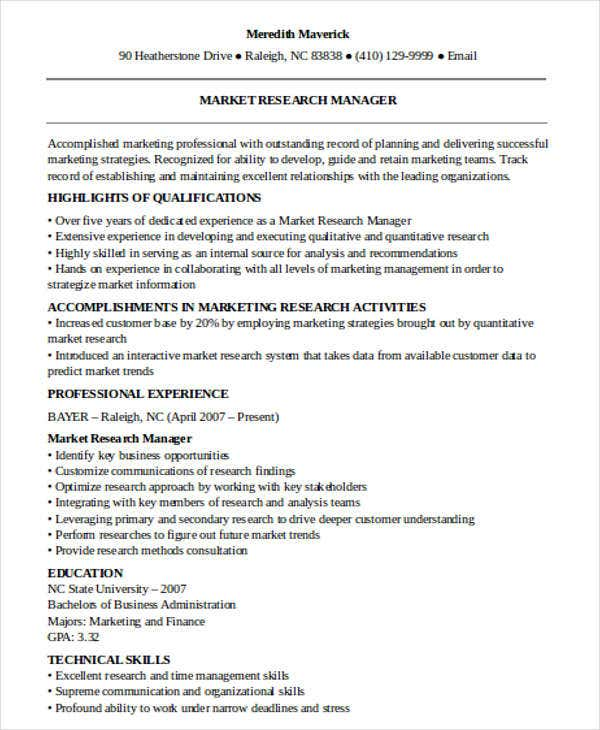 marketing research manager resume