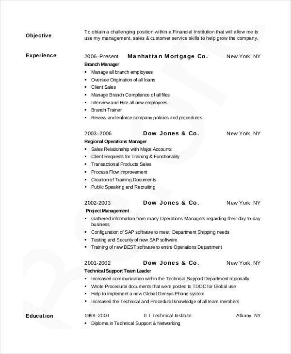 retail banking manager resume2