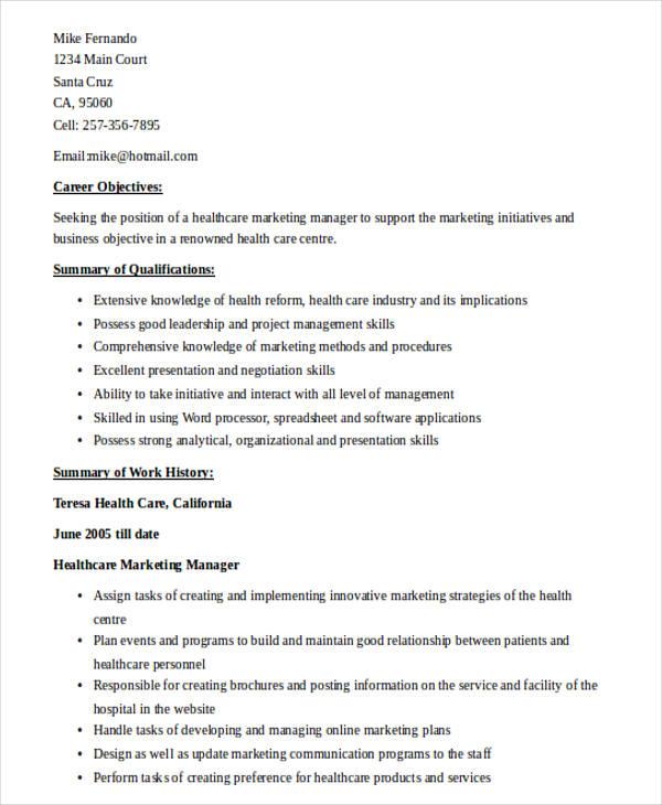 medical marketing manager resume