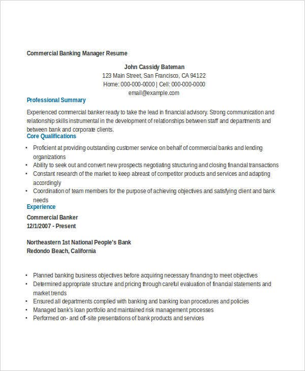 Commercial Banking Manager  Business Banker Resume