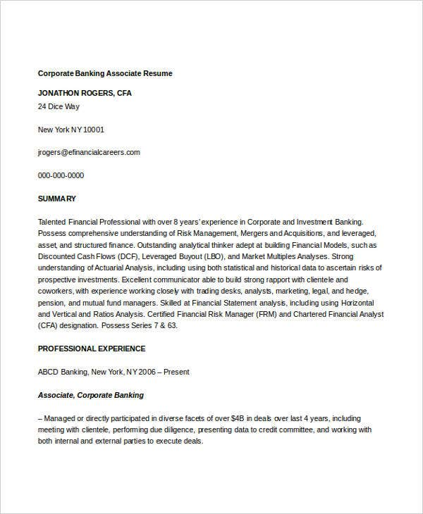corporate banking associate resume3