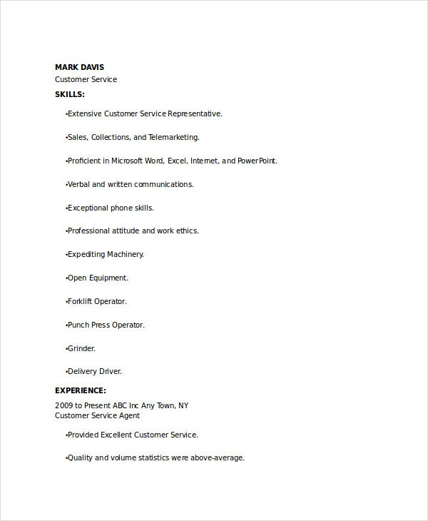 banking customer service officer resume