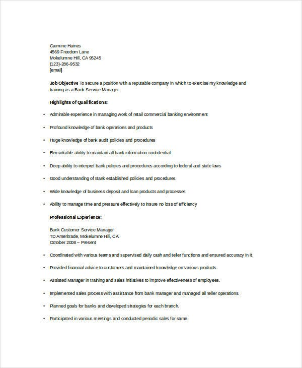Banking Customer Service Manager Resume