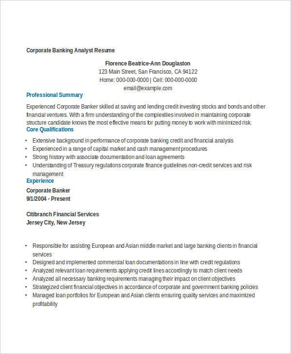 corporate banking analyst resume livecareercom. Resume Example. Resume CV Cover Letter